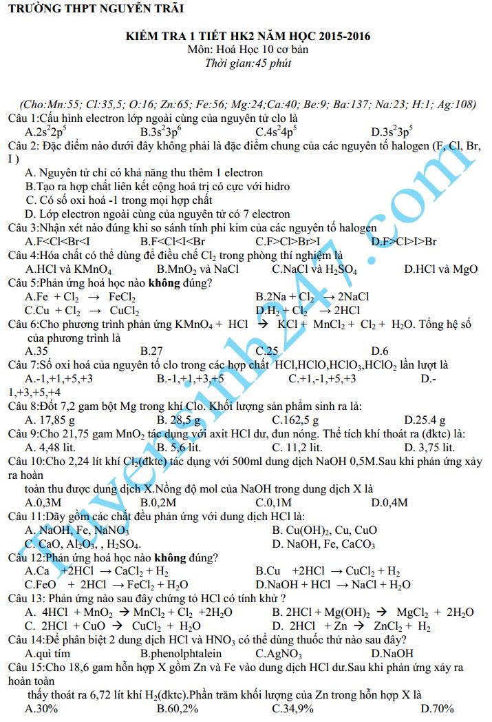 Đề kiểm tra 1 tiết HK2 năm 2016 môn Hóa 10 – THPT Nguyễn Trãi