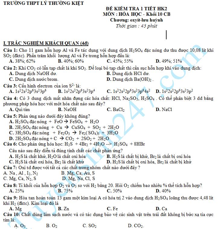 Đề kiểm tra 1 tiết HK2 Hóa 10 Chương oxit - lưu huỳnh THPT Lý Thường Kiệt 2016