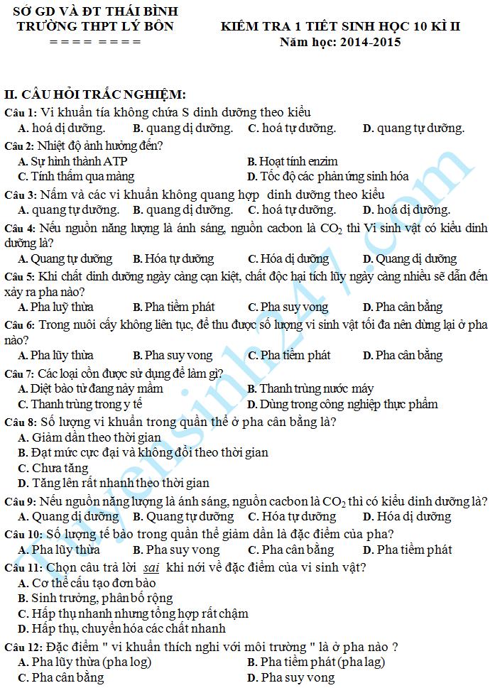 Đề kiểm tra 1 tiết HK2 Sinh 10 năm 2015 – THPT Lý Bôn