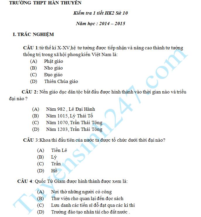 Đề kiểm tra 1 tiết HK2 năm 2015 Sử 10 - THPT Hàn Thuyên