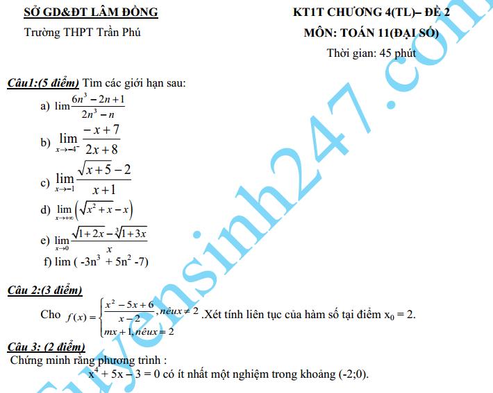 Đề kiểm tra 1 tiết 2016 môn Toán Đại số 11 Chương 4 THPT Trần Phú