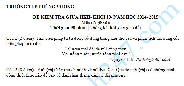 Đề thi giữa học kì 2 lớp 10 môn Văn – THPT Hùng Vương 2016