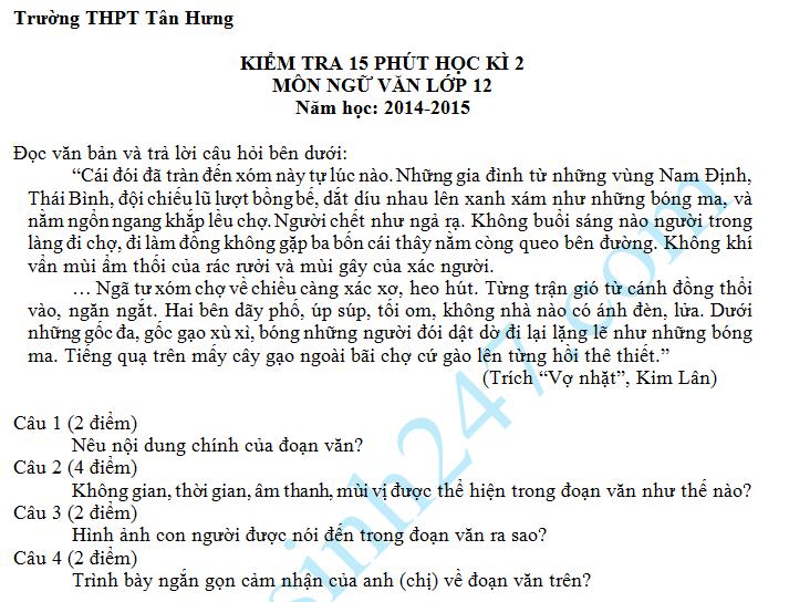 Đề kiểm tra 15 phút HK2 môn Văn lớp 12 năm 2015 – THPT Tân Hưng