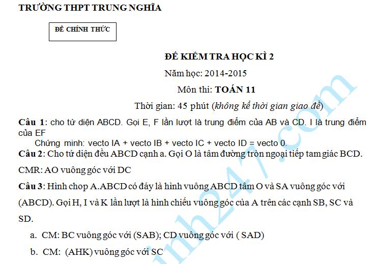 Đề kiểm tra 1 tiết HK2 môn Toán 11 Hình học – THPT Trung Nghĩa 2015