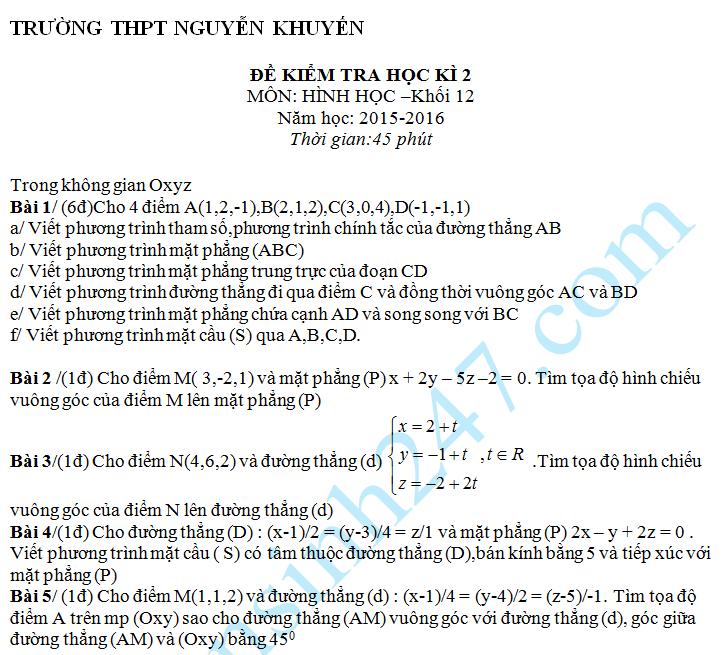 Đề kiểm tra 1 tiết HK2 môn Toán Hình học 12 – THPT Nguyễn Khuyến 2016