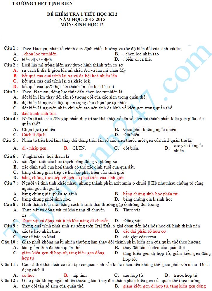 Đề kiểm tra 1 tiết HK2 môn Sinh 12 – THPT Tịnh Biên 2016