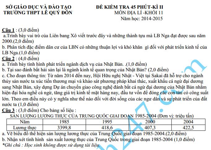 Đề kiểm tra 1 tiết HK2 môn Địa 11 năm 2015 – THPT Lê Quý Đôn