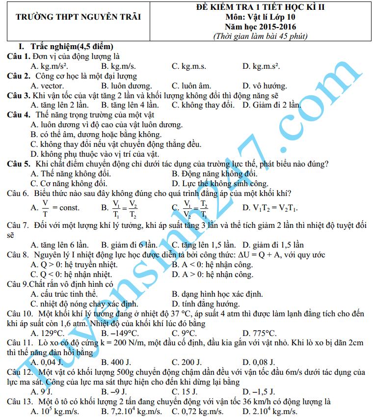 Đề thi học kì 2 môn Lý 10 – THPT Nguyễn Trãi 2016