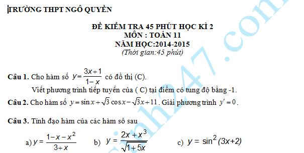 Đề kiểm tra 1 tiết HK2 môn Toán 11 năm 2015 – THPT Ngô Quyền