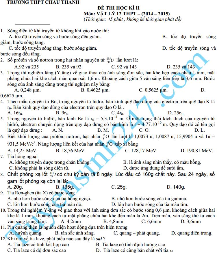 Đề thi học kì 2 lớp 12 môn Lý – THPT Châu Thành 2015