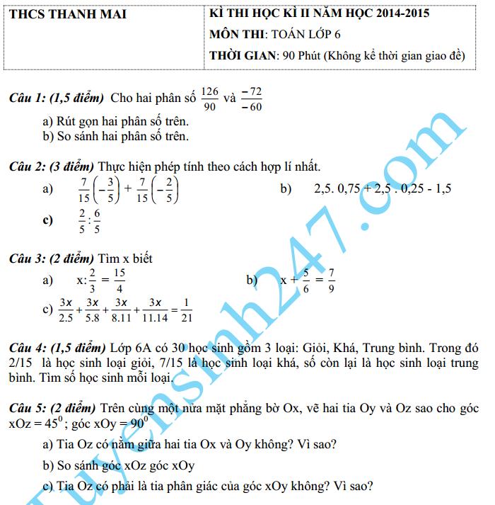 Đề thi học kì 2 lớp 6 môn Toán 6 – THCS Thanh Mai 2015