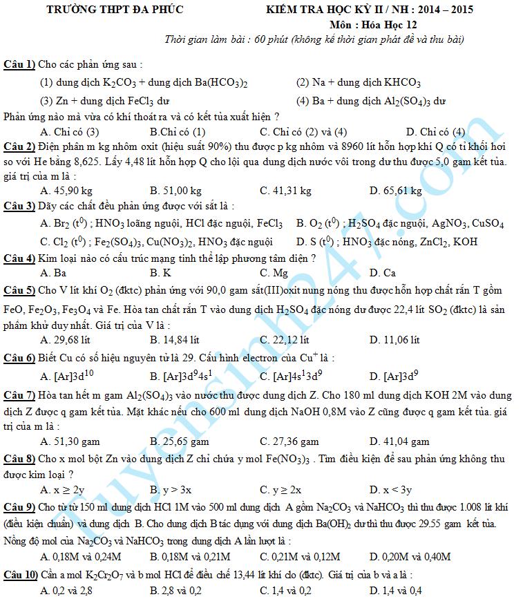 Đề thi học kì 2 lớp 12 môn Hóa - THPT Đa Phúc 2015