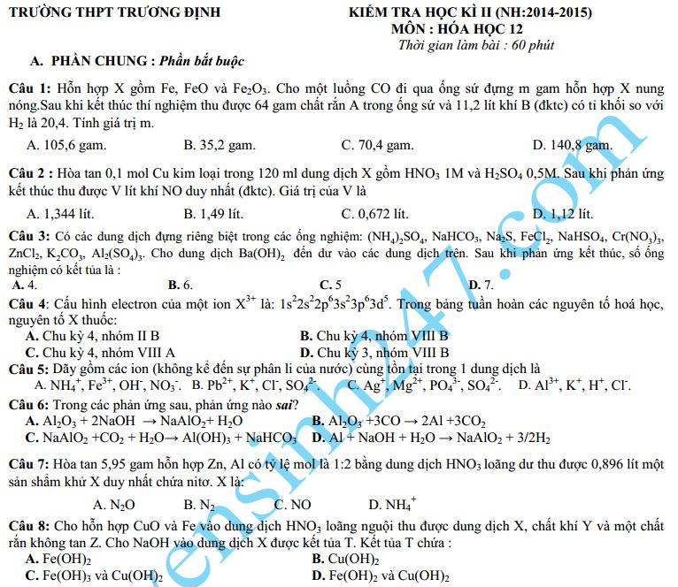 Đề thi học kì 2 lớp 12 năm 2015 môn Hóa – THPT Trương Định