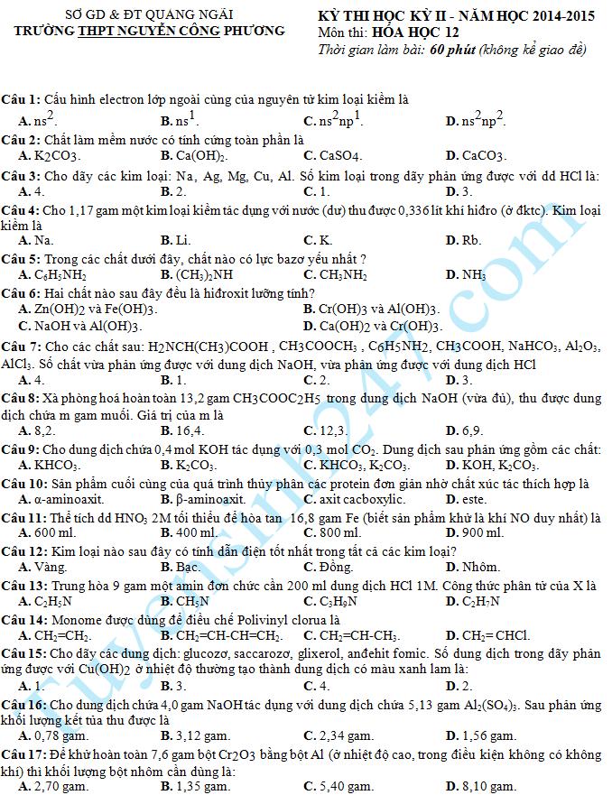 Đề thi học kì 2 lớp 12 năm 2015 môn Hóa – THPT Nguyễn Công Phương
