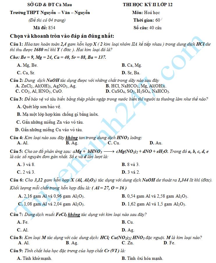 Đề thi học kì 2 lớp 12 môn Hóa – THPT Nguyễn Văn Nguyễn 2015