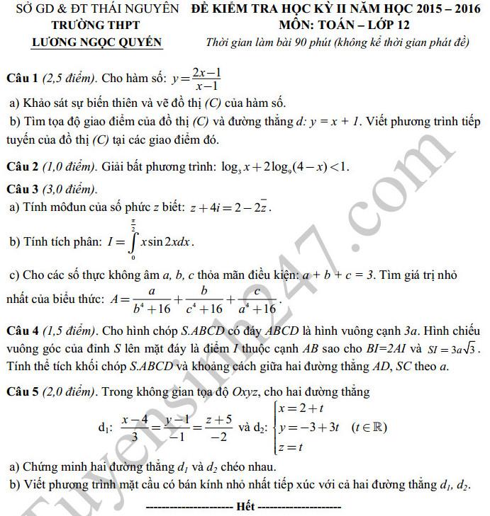 Đề thi học kì 2 lớp 12 môn Toán THPT Lương Ngọc Quyến 2016