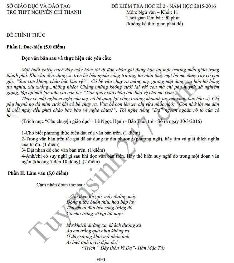 Đề thi học kì 2 môn Văn 11 THPT Nguyễn Chí Thanh 2016