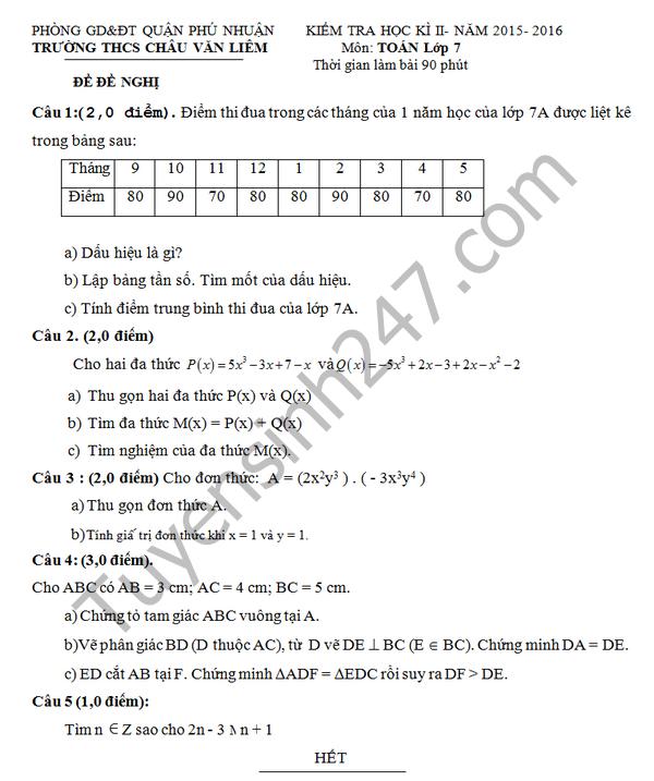 Đề thi học kì 2 môn Toán 7 THCS Châu Văn Liêm 2016