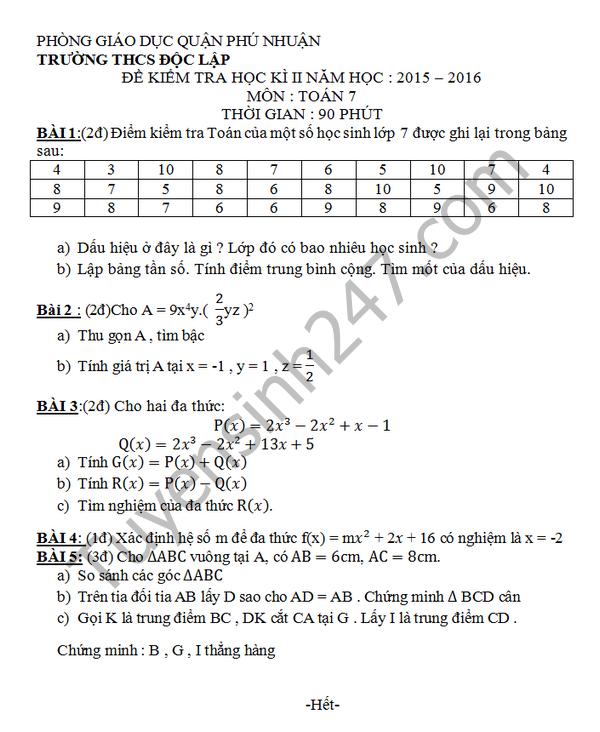 Đề thi học kì 2 lớp 7 môn Toán 2016 THCS Độc Lập