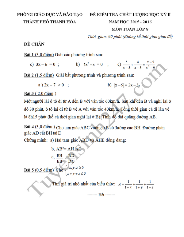 Đề thi học kì 2 lớp 8 môn Toán năm 2016 - Thanh Hóa