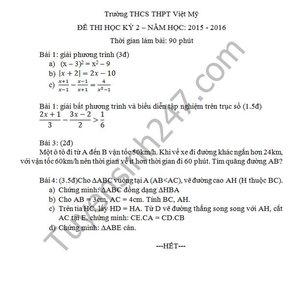 Đề thi học kì 2 lớp 8 môn Toán năm 2016 THCS Việt Mỹ