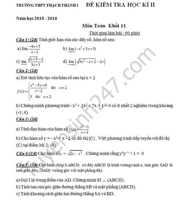 Đề thi học kì 2 lớp 11 môn Toán 2016 THPT Thạch Thành 1