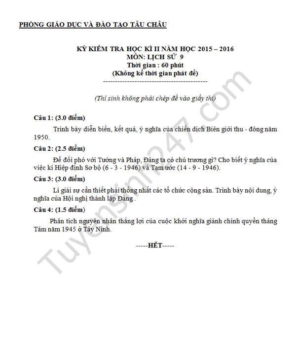 Đề thi học kì 2 lớp 9 môn Sử 2016 - Tâu Châu