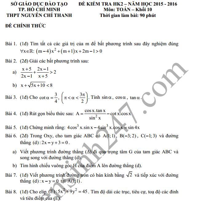 Đề thi học kì 2 lớp 10 môn Toán THPT Nguyễn Chí Thanh 2016