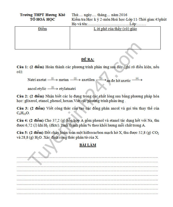 Đề thi học kì 2 lớp 11 môn Hóa 2016 THPT Hương Khê