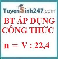 Bài tập án dụng công thức n = V / 22,4 (có lời giải chi tiết)