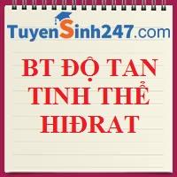 BT về độ tan và tinh thể hiđrat