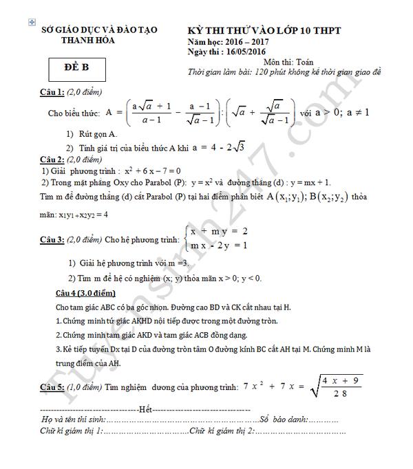 Đề thi thử vào lớp 10 môn Toán - Sở GD&ĐT Thanh Hóa 2016