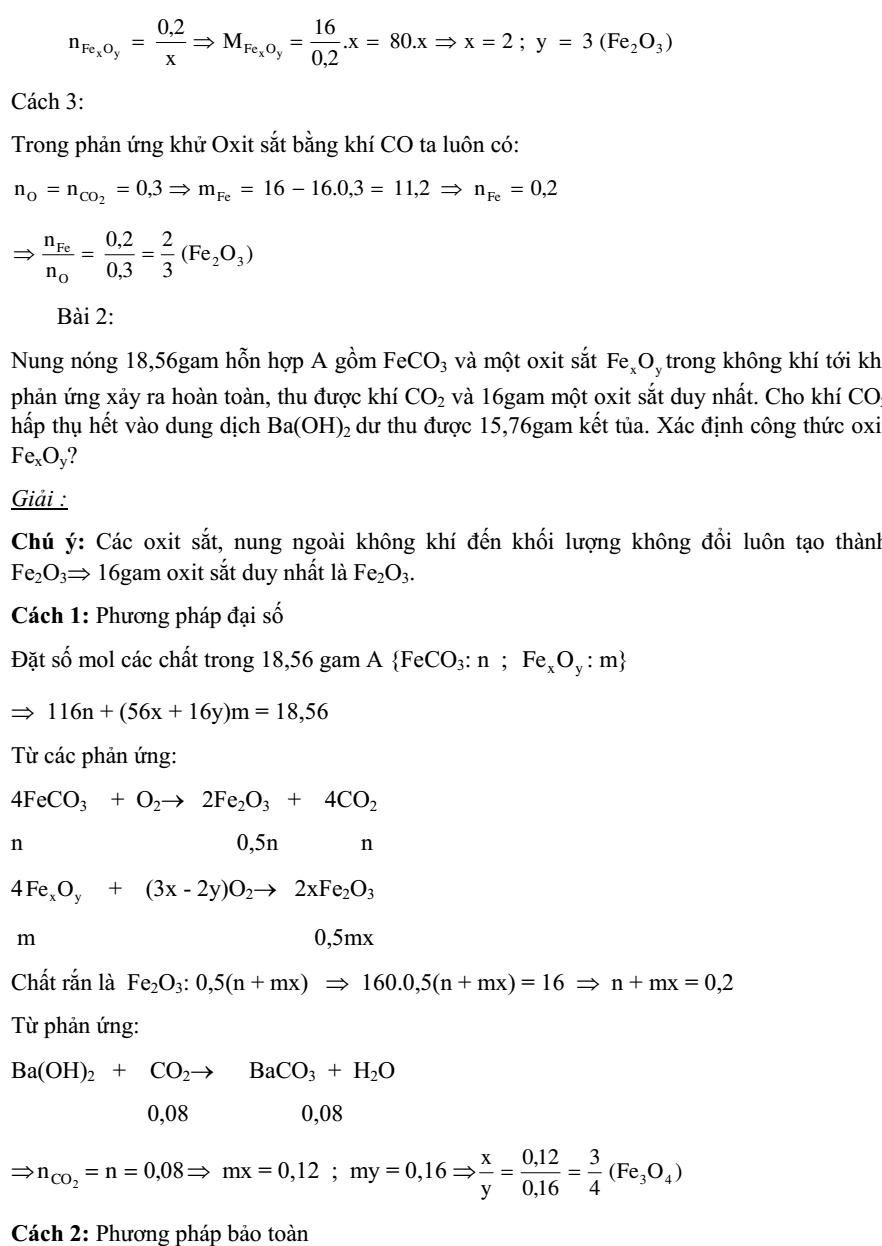 Bài tập xác định công thức oxit sắt nâng cao