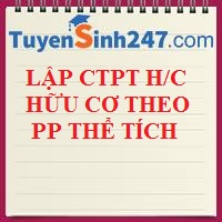 Lập CTPT hợp chất hữu cơ dựa vào PP thể tích