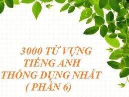 3000 Từ vựng tiếng Anh thông dụng nhất ( phần 6)