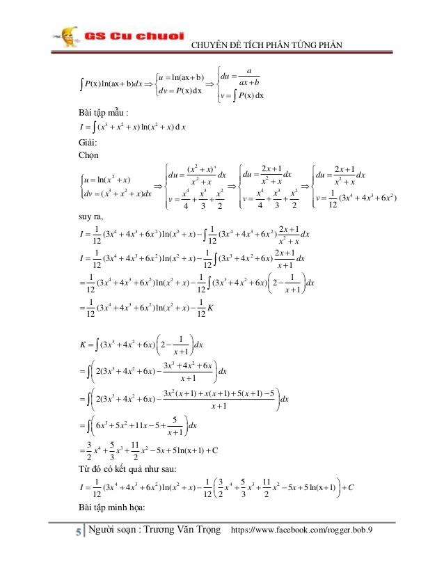 Phương pháp và một số bài tập tính nguyên hàm, tích phân từng phần