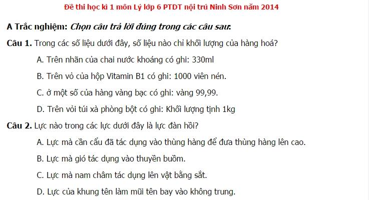 Đề thi học kì 1 môn Vật Lý lớp 6 phòng GD&ĐT Ninh Sơn 2014