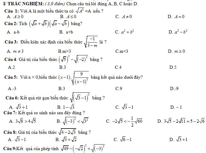 2 đề kiểm tra chương căn bậc hai, căn bậc 3 (có đáp án - thang điểm)