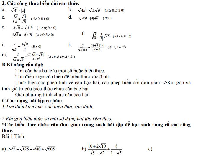 Chuyên đề ôn tập chương căn bậc hai - rút gọn biểu thức khá hay