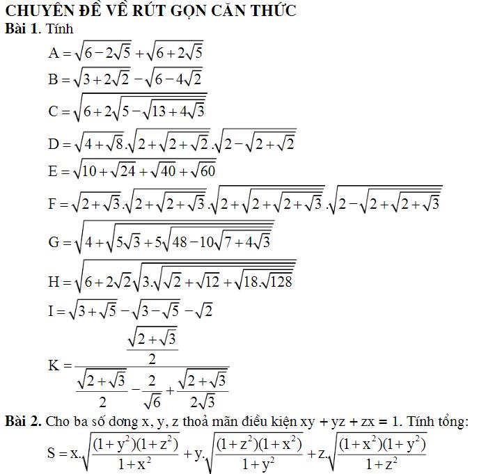 Một số bài toán rút gọn biểu thức chứa căn bậc 2 hay và khó