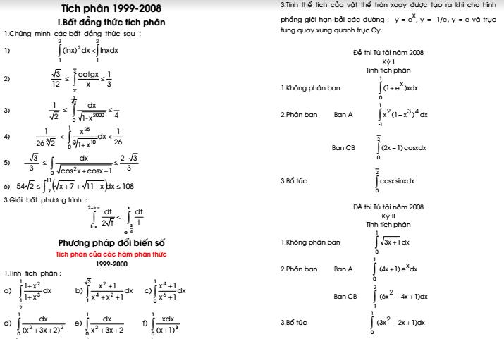 Tuyển tập các bài tích phân trong đề thi 1999 - 2009