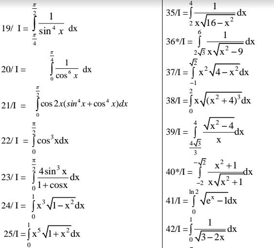 333 câu tích phân luyện thi đại học