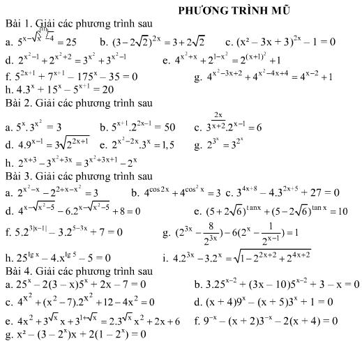 Bài tập về phương trình mũ - phương trình logarit.