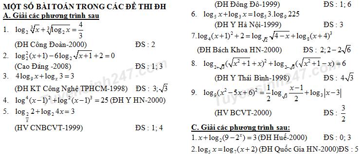Bài tập giải phương trình logarit theo từng dạng - có đáp án