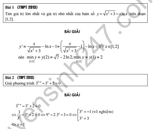 Tổng hợp những câu Mũ logarit xuất hiện trong đề thi tốt nghiệp, đại học các năm về trước