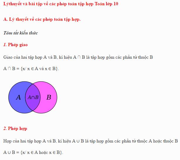 Lý thuyết và bài tập về các phép toán tập hợp (phép giao, phép hợp, phép hiệu, phép lấy phần bù)
