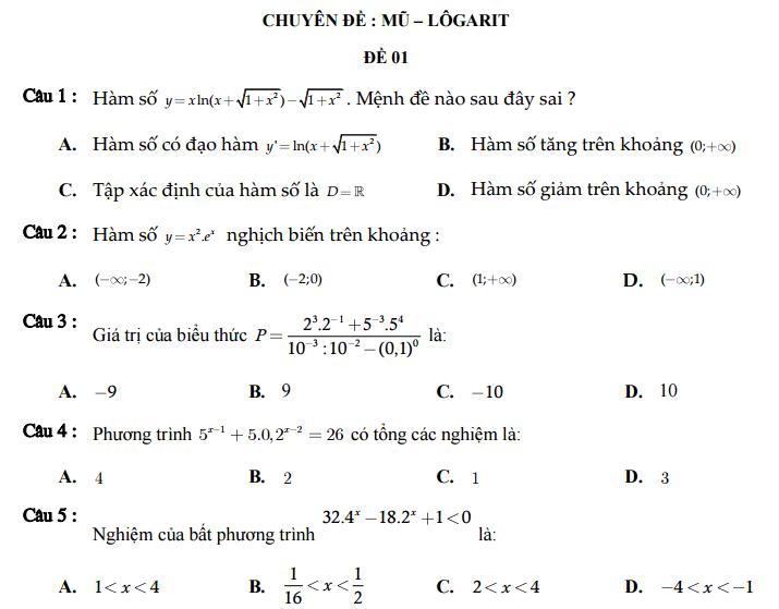 600 câu hỏi trắc nghiệm chuyên đề hàm số Mũ - Logarit