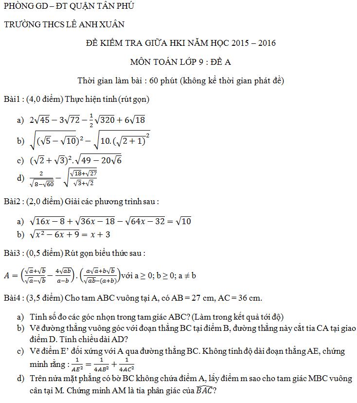 Đề thi giữa kì 1 lớp 9 môn Toán THCS Lê Anh Xuân 2015