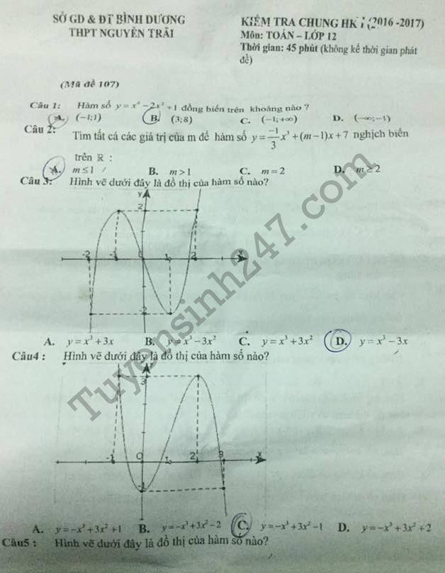 Đề thi giữa kì 1 lớp 12 môn Toán THPT Nguyễn Trãi 2016