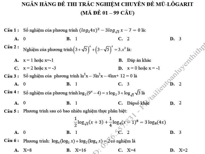 Bài tập trắc nghiệm mũ logarit lớp 12